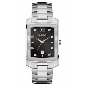 Mens Bulova Diamond Quartz Silver Black 31mm Watch